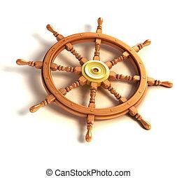 3d ship wheel isolated - wheel, sailboat, background, white,...