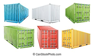 3D Shipping Cargo Container Set Vector. Blue, Red, Green,...