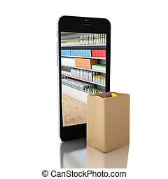 3d Shop bag with grocery store in smartphone. Shop online concept.