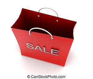 3d shopping bag with sale text projected concept