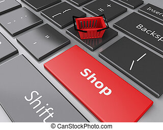 3d Shopping basket on computer keyboard. Online shopping concept