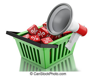 3d shopping basket with discount cubes.