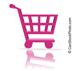 shopping cart button - 3d shopping cart button - computer ...