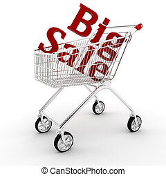 3d shopping cart, isolated on white