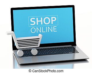 3d Shopping cart on Laptop. e-commerce concept