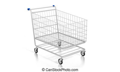 3D shopping cart on white background