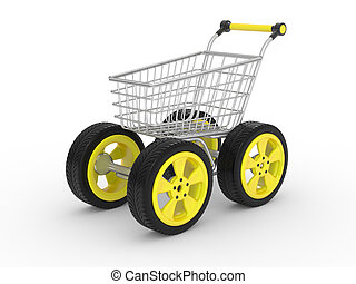 3d shopping cart with big car wheel isolated on white