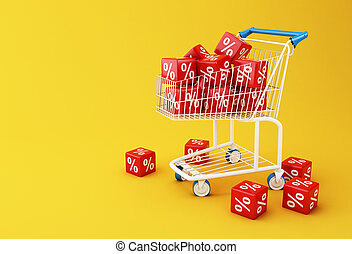 3d Shopping cart with discount cubes. - 3d illustration....