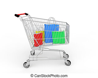 3d shopping cart with gifts bags