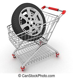 3D Shopping cart with wheel. Conception of purchase of repair parts for a car
