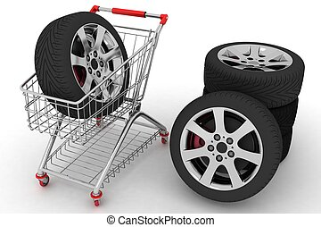 Shopping cart with wheels. Conception of purchase of repair...