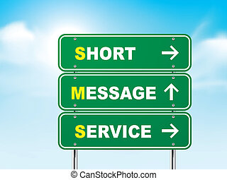 3d short message service road sign