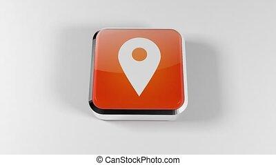 3D sign GPS. GPS button. Geolocation. 24. - 3D sign GPS. GPS...