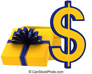3D Sign of dollar with a gift