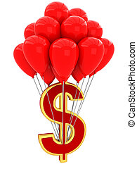 3D Sign of dollar with balloons