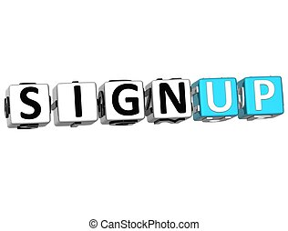 3D Sign Up Cube Text on white background