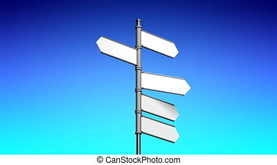 3D signpost (roadsign) with five arrows - animation