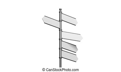 3D signpost (roadsign) with five arrows on white background...