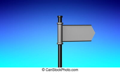 3D signpost (roadsign) with one arrow - animation