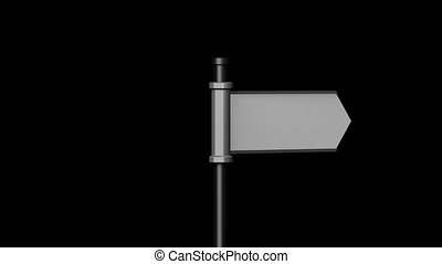3D signpost (roadsign) with one arrow on black background -...