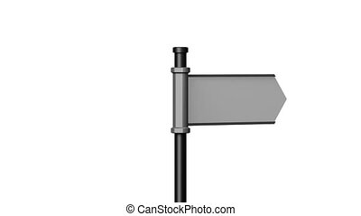 3D signpost (roadsign) with one arrow on white background -...