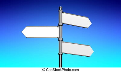 3D signpost (roadsign) with three arrows - animation