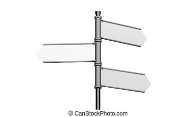 3D signpost (roadsign) with three arrows on white background...