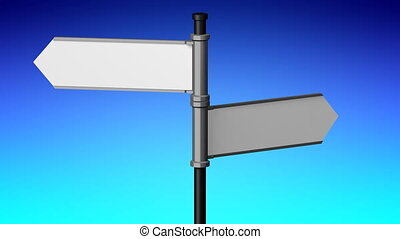 3D signpost (roadsign) with two arrows - animation