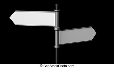 3D signpost (roadsign) with two arrows on black background -...