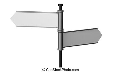 3D signpost (roadsign) with two arrows on white background -...