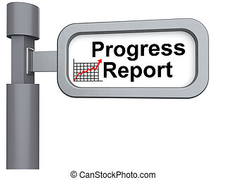 3d signpost with progress report