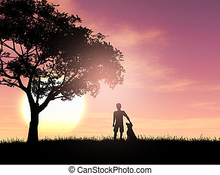 3D silhouette of a boy and his dog against a sunset sky