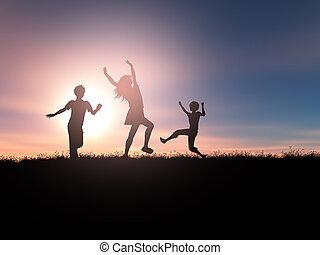 3d, silhouetten, von, kinder, spielen, in, a, sonnenuntergang, landschaftsbild