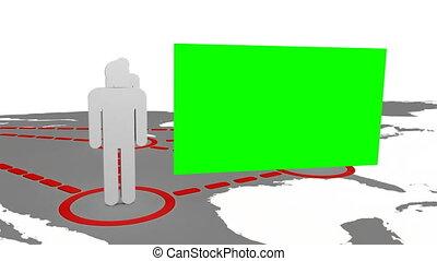 3d, silhouettes, verschijnen, op, een, kaart
