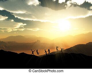 3d, siluetas, de, niños jugar, en, un, ocaso, paisaje