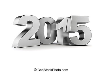 3d - silver 2015 text on white background
