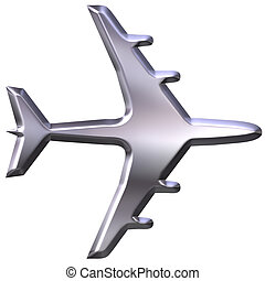 3D Silver Airplane Model