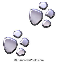 3D Silver Animal Foot Prints