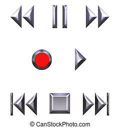 3D Silver Audio Buttons