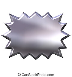 3d silver burst isolated in white