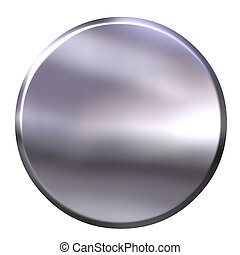 3D Silver Button - 3d silver button isolated in white