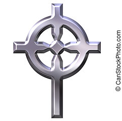 3D Silver Celtic Cross