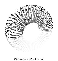 3d Silver coiled spring