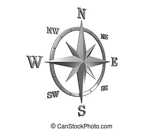 3D silver compass - 3D generated compass, wind rose out of...
