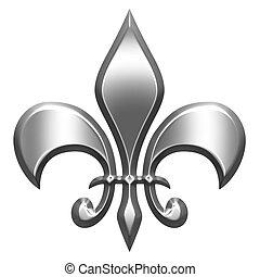 3D Silver Fleur de Lis - 3d silver fleur de lis isolated in...