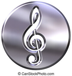 3D Silver Framed Treble Clef