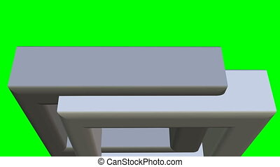 3d silver frames quick moving and rotating on green screen, 3d animation useful for business, intro, clip effect