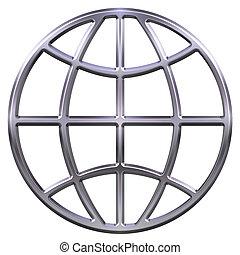 3D Silver Globe