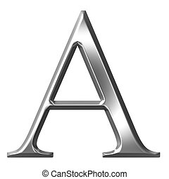 3d silver Greek letter Alpha isolated in white