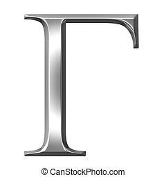 3D Silver Greek Letter Gamma